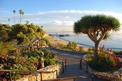 De gemodelleerde gangen van het Heislerpark boven het Diverse gebied van het Inhamstrand, Laguna Beach, Californië. Stock Foto's