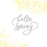 De gemotiveerde uitdrukking Hello, de lente van de handtekening vector Uitstekende bloemenachtergrond Royalty-vrije Stock Foto