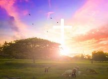 De genade van Jesus-Christus bij kruis op de achtergrond van de bergzonsondergang hij geloof om zoon van god te aanbidden Royalty-vrije Stock Foto's