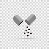De geneeskunde van de pictogramcapsule op achtergrond vector illustratie