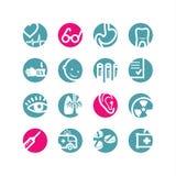 De geneeskundepictogrammen van de cirkel Stock Afbeeldingen