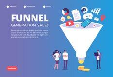 De generatie van de trechterverkoop De digitale marketing generaties van het trechterlood met kopers Strategie, wisselkoersoptima stock illustratie