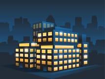 De generische collectieve moderne bureaubouw bij nacht Stock Foto's