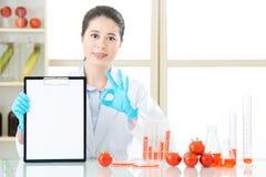 De genetische modificatie die resultaat onderzoeken is o.k. voor menselijke gezondheden Stock Foto's
