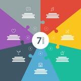 De genummerde volledige pagina vlak regenboogspectrum kleurde raadselpresentatie infographic grafiek met verklarend tekstgebied Stock Foto