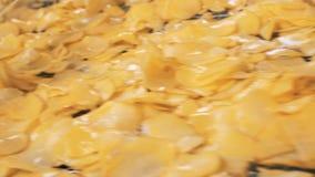 De geoli?de chips bewegen zich langs de transportband stock videobeelden