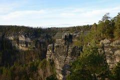 De geologische Vorming van de Zandsteenrots, Tsjechische Republiek, Europa Royalty-vrije Stock Afbeeldingen