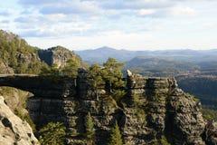 De geologische Vorming van de Zandsteenrots, Tsjechische Republiek, Europa Stock Fotografie