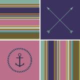 De geometrische achtergrond van het kleuren hipster gestreepte patroon Stock Afbeeldingen