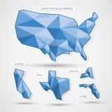 De geometrische blauwe kaart en de staten van de V.S. Stock Foto's