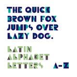 De geometrische brieven van het vormenalfabet Retro doopvont Latijns alfabet le Royalty-vrije Stock Foto