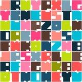 De geometrische brieven vatten naadloos patroon samen De achtergrond van het brievenalfabet Kleurrijke vormensamenstelling, moder stock illustratie
