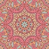 De geometrische etnische Indische druk van de mandalabloem Stock Fotografie