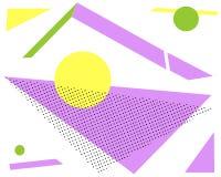 De geometrische gele cirkel van de druk lilac driehoek op witte achtergrond vector illustratie