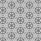 De geometrische Sterren Overladen Wervelingen bloeit Keltisch Stammen van de Bloembloemblaadjes van Bladbladeren Bloemen In Zwart Stock Afbeelding