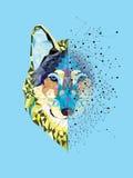 De geometrische stijl van de wolfsmens royalty-vrije illustratie