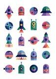 De Geometrische symbolen van het pictogramontwerp van ruimte stock foto's