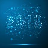 De geometrische veelhoekige kaart van de 2018 Nieuwjaargroet De lage poly blauwe achtergrond van de driehoeks toekomstige technol Royalty-vrije Stock Afbeeldingen