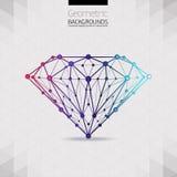 De geometrische vorm van het moleculaire diamantrooster Stock Afbeelding