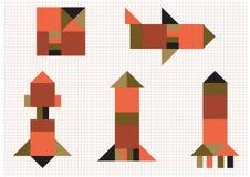 De geometrische vormen van de vliegtuigenraket Stock Foto