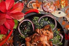 De Georgische nationale keuken van het Shashlikgedeelte Stock Afbeeldingen