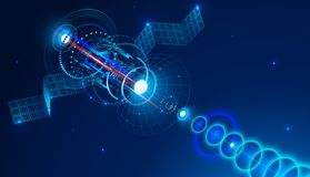 De geostationaire telecommunicatiesatelliet van ruimte verzendt een digitaal signaal via satellietschotel Conceptuele abstracte a stock illustratie