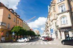 De geparkeerde mening van de auto'sstraat Stock Fotografie