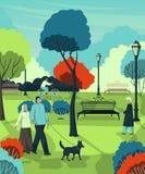 De gepensioneerden die in de stad lopen parkeren Landschap met bomen, struiken, banken, lantaarns stock illustratie