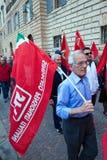 De gepensioneerden van de demonstratie in het centrum van Gubbio royalty-vrije stock fotografie