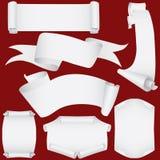 De geplaatste banners en de rollen van het document (vector, CMYK) Stock Foto's