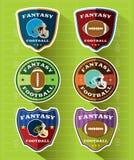 De Geplaatste Emblemen en de Kentekens van de fantasievoetbal stock illustratie
