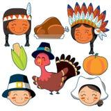 De geplaatste gezichten en de elementen van thanksgiving day Royalty-vrije Stock Foto's