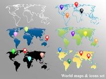 De Geplaatste Kaarten en de Pictogrammen van de wereld royalty-vrije illustratie