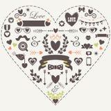 De geplaatste liefde van het Hipstersilhouet en romantische pictogrammen Royalty-vrije Stock Afbeelding