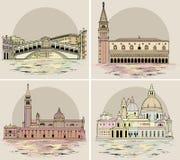 De geplaatste oriëntatiepunten en de gebouwen van Venetië Vector illustratie stock illustratie