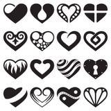 De geplaatste pictogrammen en de tekens van het hart Stock Illustratie