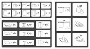 De geplaatste pictogrammen en de symbolen van toiletpapierparameters Vectorillustratiepak stock illustratie