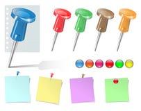 De geplaatste spelden en de stickers van de duw. stock illustratie