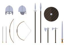 De geplaatste wapens en de pantsers van Viking Viking-strijdersmateriaal vector illustratie
