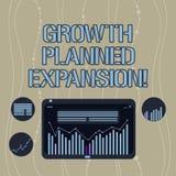 De Geplande Uitbreiding van de handschrifttekst de Groei Concept die blootstellend de zaken aan een bredere klanten Digitale Comb royalty-vrije illustratie