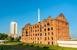 De Gerhardt-Molen tijdens de Slag van Stalingrad wordt geruïneerd die Volgograd, Rusland stock foto's