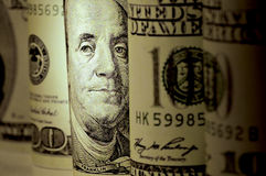 De gerolde dollars van de V.S. Royalty-vrije Stock Afbeeldingen
