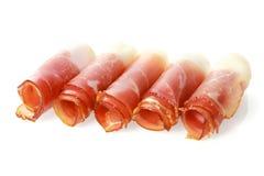 De gerolde gastronomische proscuitto of ham van Parma Royalty-vrije Stock Foto