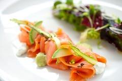 De gerookte salade van de Zalm Royalty-vrije Stock Foto's