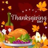 De geroosterd geheel kip of Turkije sauced en roosterde de herfstgroenten, wijn op achtergrond met geel, sinaasappel Royalty-vrije Stock Fotografie