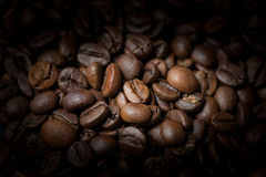 De geroosterde Bonen van de Koffie Selectieve nadruk Stock Afbeeldingen