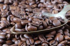 De geroosterde bruine koffiebonen, kunnen als achtergrond en tekst worden gebruikt Stock Fotografie