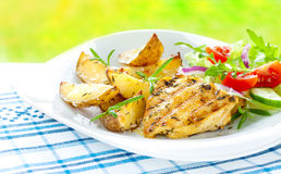 De geroosterde filet van de kippenborst met aardappels en salade Royalty-vrije Stock Foto's