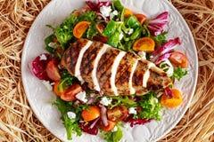 De geroosterde filet van de Kippenborst met de verse salade van tomatengroenten Concepten gezond voedsel royalty-vrije stock afbeeldingen