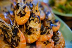 De geroosterde garnaal is zeer heerlijke zeevruchten Stock Foto's